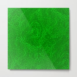 Neon Green Alien DNA Plasma Swirl Metal Print