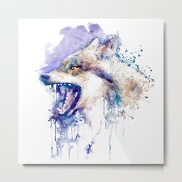 Angry Wolf Profile Portrait Metal Print