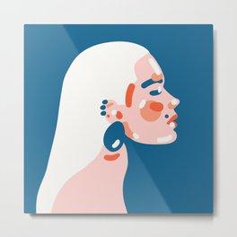 Classy fashion inspired simplified portrait of beutiful woman Art Print Metal Print