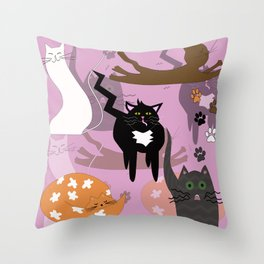Such different cats. Throw Pillow