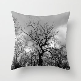 Witchy black and white tree Throw Pillow