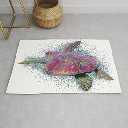 Sea Turtle - colorful swimming near the coral reef beach. Rug