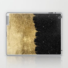 Faux Gold and Black Starry Night Brushstrokes Laptop & iPad Skin