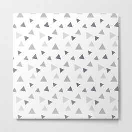 Modern geometrical pastel gray white triangles pattern Metal Print