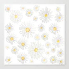 white daisy pattern watercolor Canvas Print