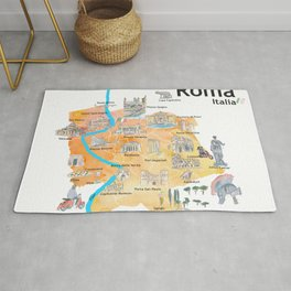 Rome Italy Illustrated Travel Poster Favorite Map Tourist Highlights Rug