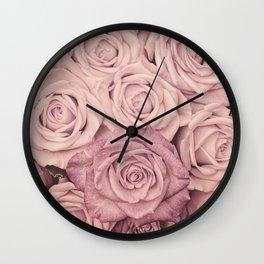 Some People Grumble - Pink Rose Pattern - Roses Garden Wall Clock