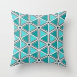 Silver Foil Hexagon and Triangles in Teal Light Gray Throw Pillow