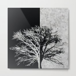 Natural Outlines - Oak Tree Black & Concrete #402 Metal Print
