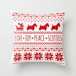 Love Joy Peace Scotties | Scottish Terriers Christmas Holiday Pattern Throw Pillow