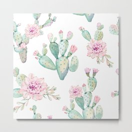 Simply Cactus Rose Metal Print