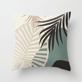 Minimal Tropical Palm Leaf Finesse #2 #tropical #decor #art #society6 Throw Pillow