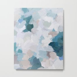 Turquoise Navy Blue Blush Pink Gray White Abstract Painting, Modern Wall Art, Digital Print Metal Print