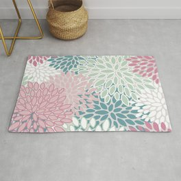Floral Prints, Soft Pink, Green and Teal, Design Prints Rug