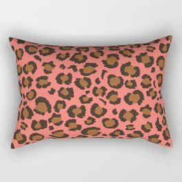 Coral and Brown Leopard Print - Living Coral design Rectangular Pillow