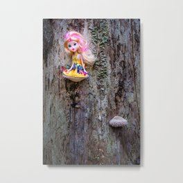 Disabled, colorful doll sitting on the bracket fungus Metal Print