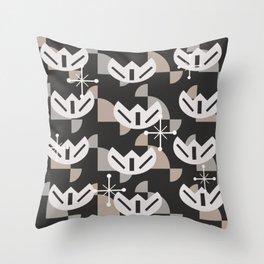 Atomic Era Funky Flowers (Black) Throw Pillow