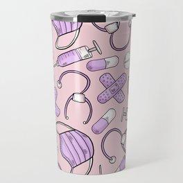 Pastel Medical Pattern - Doctor and Nurse Theme - on Pink Travel Mug