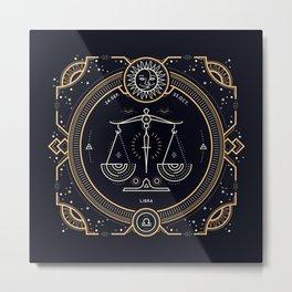 Libra Zodiac Golden White on Black Background Metal Print