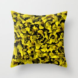 Chaotic bright on the dark of spots and splashes of yellow colors. Throw Pillow