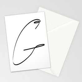 """"""" Singles Collection """" - One Line Minimal Letter G Print Stationery Cards"""