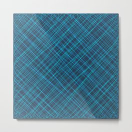 Royal ornament of their blue threads and luminous intersecting fibers. Metal Print