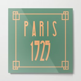 Paris 1925 Art Deco Exposition Framed Typography Tribute Metal Print