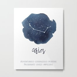 Aries Watercolor Constellation and Traits Metal Print
