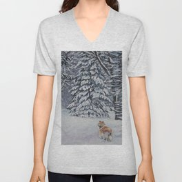 Beautiful Rough Collie Dog in the Snow Painting from an original painting by L.A.Shepard Unisex V-Neck