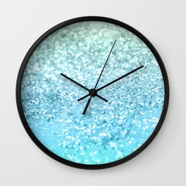 Seafoam Aqua Ocean MERMAID Girls Glitter #1 #shiny #decor #art #society6 Wall Clock