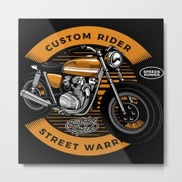Custom Rider Street Warrior Motorcycle Metal Print