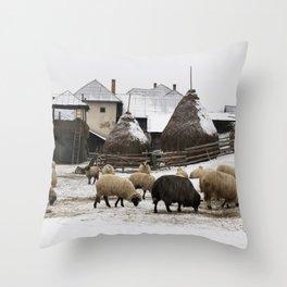 Unique winter scene from Transylvania Throw Pillow