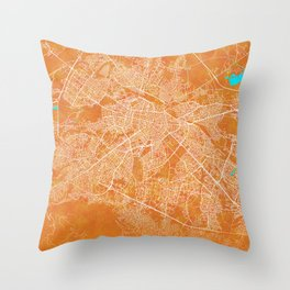 Sofia, Bulgaria, Gold, Blue, City, Map Throw Pillow