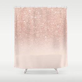 Rose gold faux glitter pink ombre color block Shower Curtain