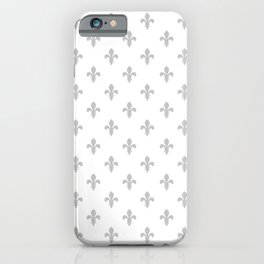 Fleur-de-Lis (Gray & White Pattern) iPhone Case