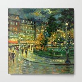 Paris, Place Pigalla 9th Arrondissement Night Scene landscape painting by Konstantin Korovin Metal Print