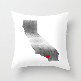 orange county red heart Throw Pillow