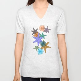 Stellated Dodecahedra With Hypercubic Reduction Unisex V-Neck