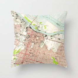 Vintage Map of Savannah Georgia (1955) Throw Pillow