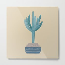 Saguaro cactus in a basket planter Metal Print