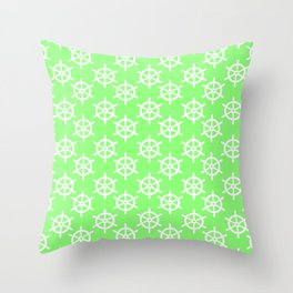 Ship Wheel (White & Light Green Pattern) Throw Pillow