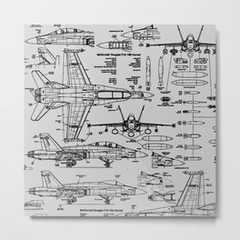 F-18 Blueprints // Light Grey Metal Print