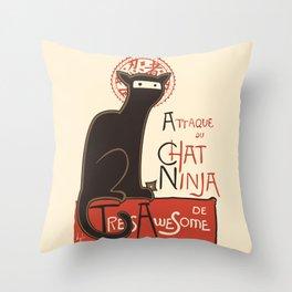 A French Ninja Cat (Le Chat Ninja) Throw Pillow
