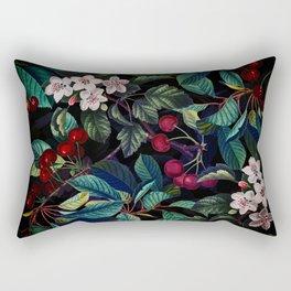 Vintage & Shabby Chic - Sakura Cherry Blossoms Botanical Night Garden Rectangular Pillow