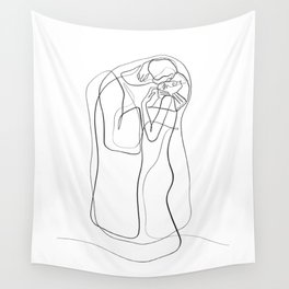 The Kiss by Gustav Klimt - minimal one line drawing Wall Tapestry