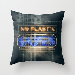 No Plastic - Say Yes – Save the Planet Throw Pillow