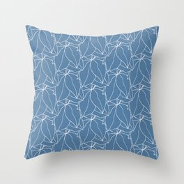 Flower Drawing in Blue and White Throw Pillow