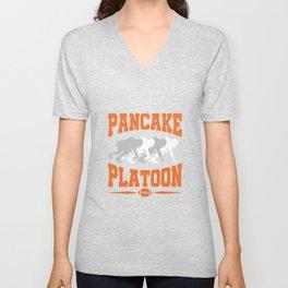 Pancake Platoon Football Offensive Line Unisex V-Neck