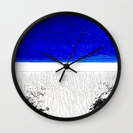 Blue river and a white landscape Wall Clock