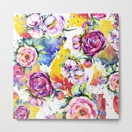Spring Into Summer Watercolor Floral Joyous Pattern Metal Print